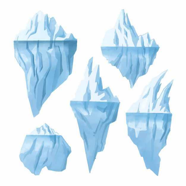 五款巨大的南极北极冰山浮冰8193961EPS图片免抠素材