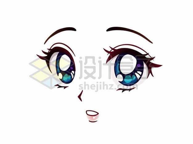 目瞪口呆的可爱大眼睛卡通美女动漫脸漫画风格二次元表情包5959411png图片免抠素材