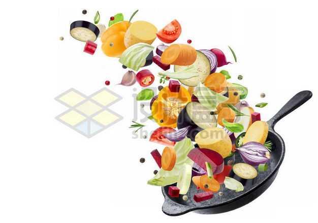 颠勺平底锅和飞出来的各种蔬菜2186258图片免抠素材