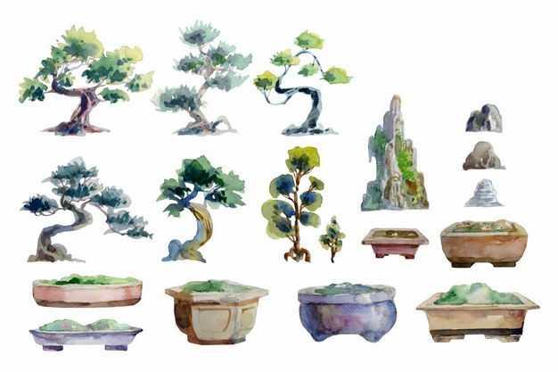 各种柏树盆景罗汉松盆景和奇石盆景水彩插画7852833EPS图片免抠素材