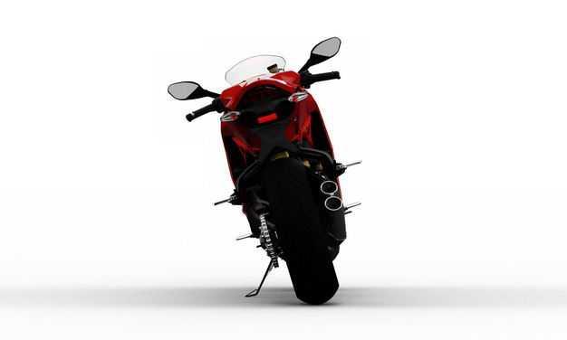 支撑起来的红色运动摩托车后面视角3741664PSD图片素材