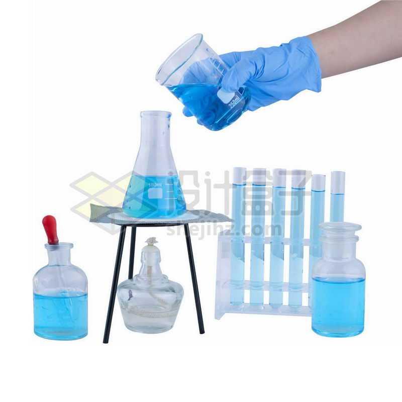 酒精灯石棉网上的锥形瓶和玻璃广口试剂瓶烧杯滴管试管等化学实验仪器4397506png图片免抠素材