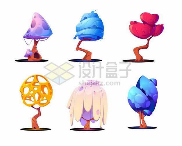 六款可爱的卡通大树7859712png图片免抠素材