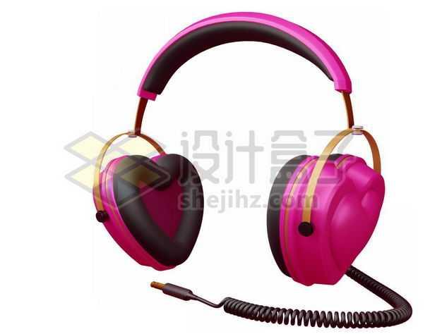 3D立体粉红色心形头戴式耳机情人节9326279图片免抠素材