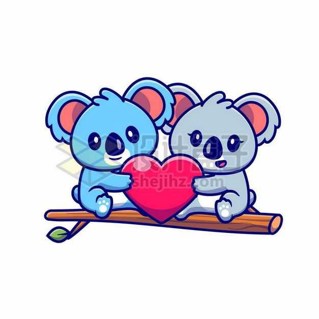 可爱的卡通考拉和红心情侣情人节7918205png图片免抠素材