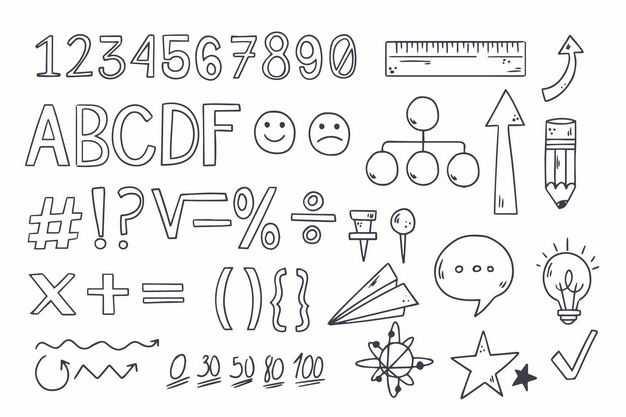 黑色线条手绘风格思维导图字母数字箭头等涂鸦符号4207453png图片免抠素材