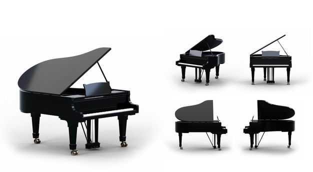 3D立体黑色琴模型的五个不同角度9767825png图片免抠素材