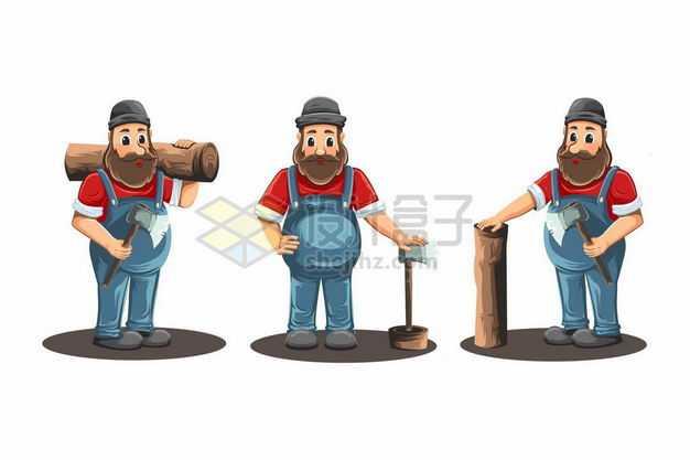 三款卡通伐木工人砍树劳作3817976png图片免抠素材