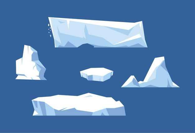 五款扁平化风格南极北极的冰山浮冰1864218EPS图片免抠素材