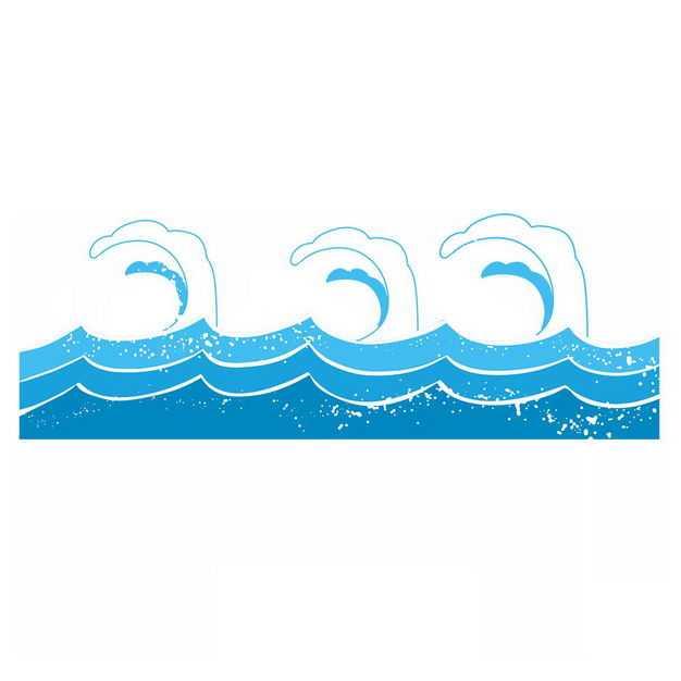 手绘风格蓝色浪花波浪巨浪图案405794png图片免抠素材