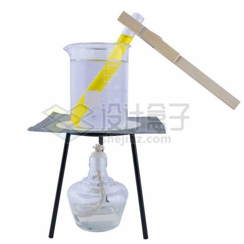 酒精灯三脚架和石棉网上的玻璃烧杯试管等化学实验仪器4281289png图片免抠素材