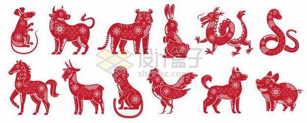 红色剪纸风格中国传统十二生肖图案5067914png图片免抠素材