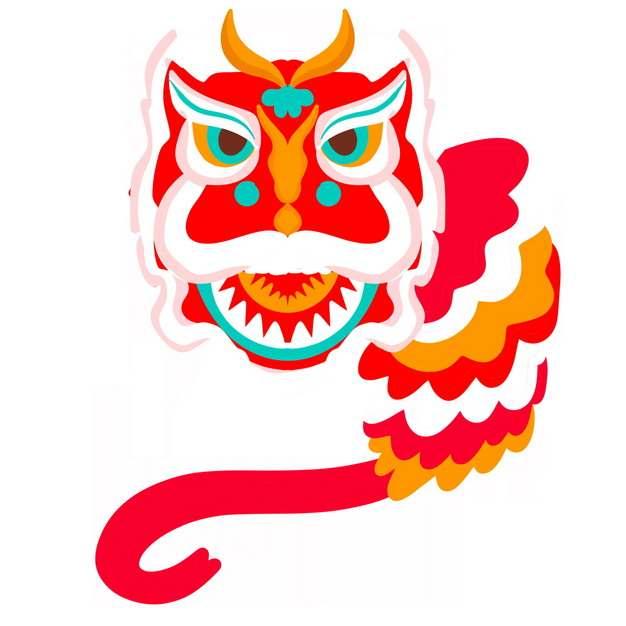 扁平化风格新年春节节日活动上的卡通舞狮子8342479png图片免抠素材