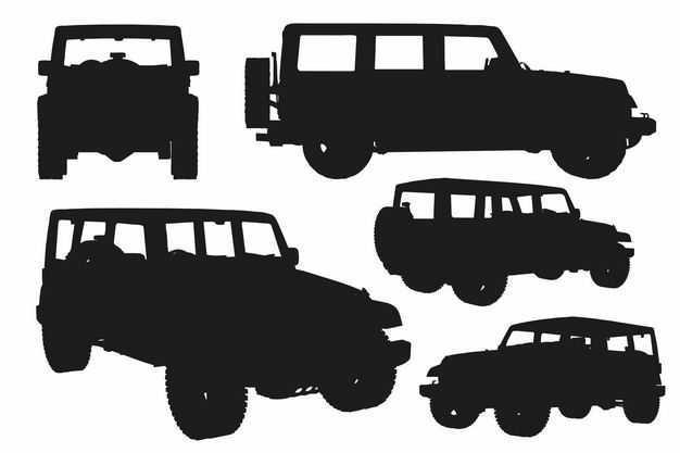 五款越野车吉普车汽车剪影9575465EPS图片免抠素材