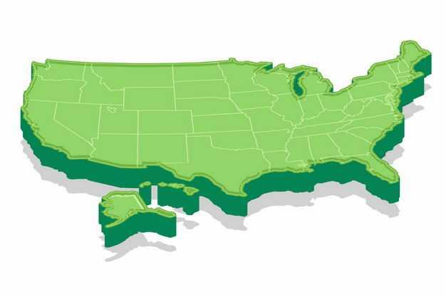 绿色3D立体美国地图3476008png图片免抠素材