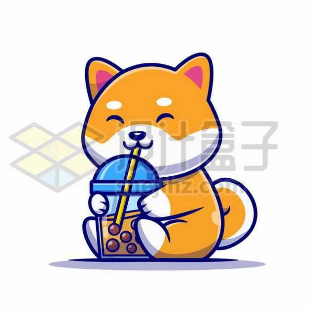 MBE风格喝珍珠奶茶的卡通日本柴犬9142854png图片免抠素材