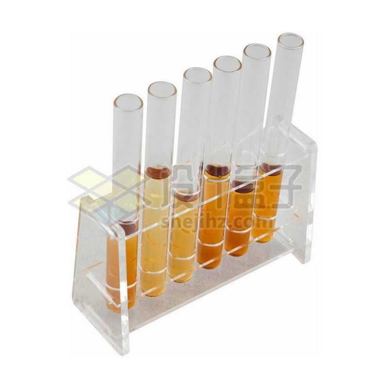 俯视视角的棕色液体的玻璃试管等化学实验仪器2697502png图片免抠素材