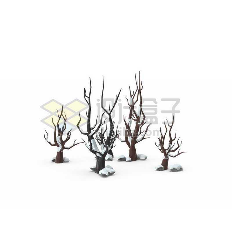 冬天积雪的枯树干雪景6033407图片免抠素材