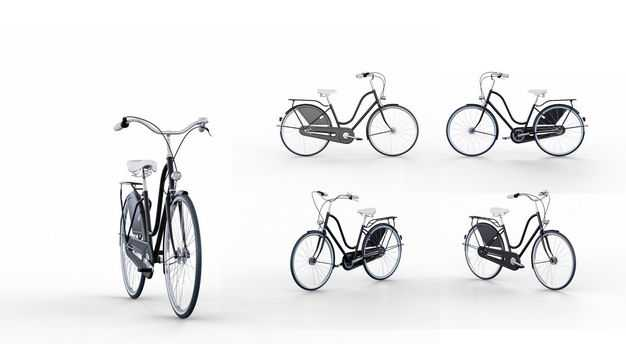 3D立体自行车模型的五个不同角度5450669PSD图片素材