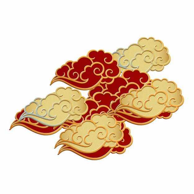 一堆3D立体金色和红色祥云图案9665525矢量图片免抠素材