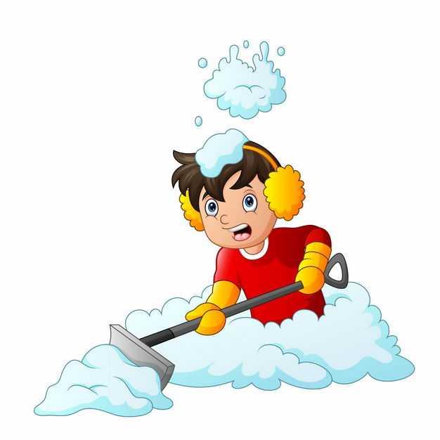 冬天正在铲雪的卡通男人5810540EPS图片免抠素材