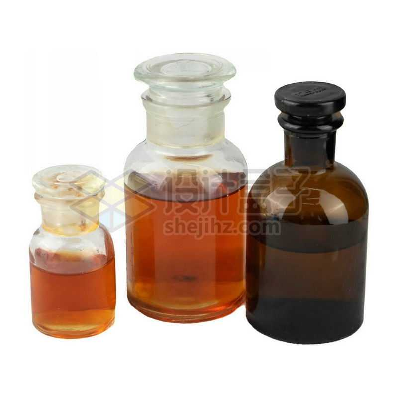 三款玻璃广口试剂瓶等化学实验仪器3706517png图片免抠素材
