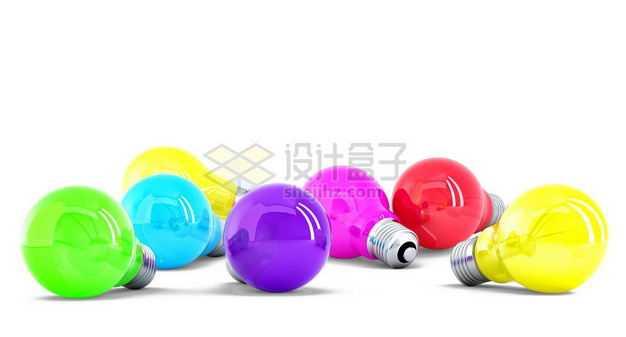 五颜六色的3D立体彩色电灯泡8659724图片免抠素材