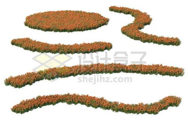 各种形状的红色花圃公园观赏植物景观植物5769115图片免抠素材