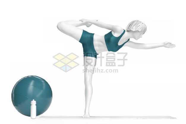 3D立体站在瑜伽垫上瑜伽动作瑜伽姿势瑜伽球人体模型9885565图片免抠素材