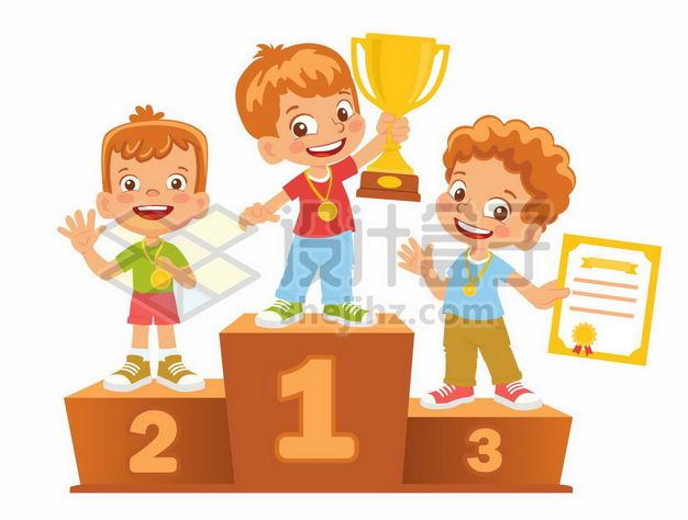 卡通小朋友领奖台获得排名奖励1246326png图片免抠素材 人物素材-第1张
