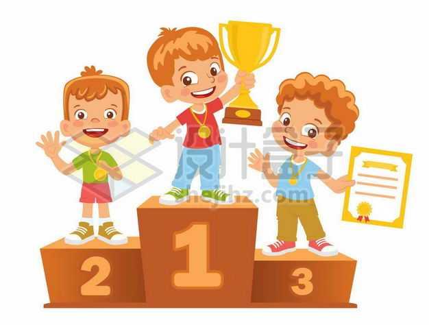 卡通小朋友领奖台获得排名奖励1246326png图片免抠素材