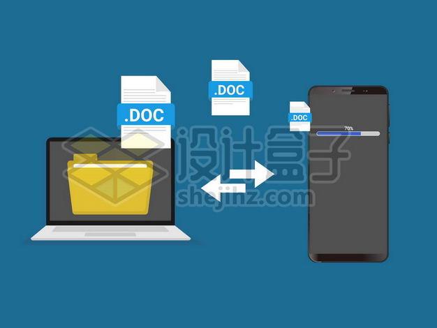 笔记本电脑和手机之间相互传输文件示意图2561128png图片免抠素材 IT科技-第1张