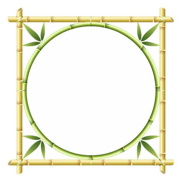 竹竿竹叶竹子组成的方形圆形边框1643333png图片免抠素材