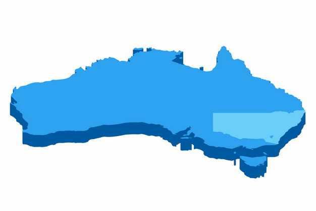 蓝色带阴影3D立体澳大利亚地图5664401png图片免抠素材