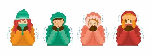 四款冬天瑟瑟发抖的卡通女孩9808589EPS图片免抠素材