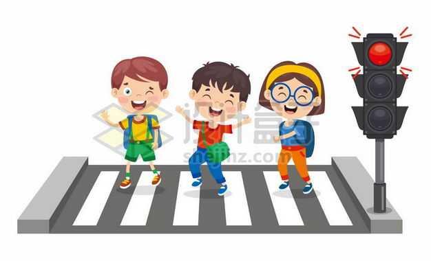 卡通小学生红绿灯斑马线过马路交通安全配图2701597png图片免抠素材