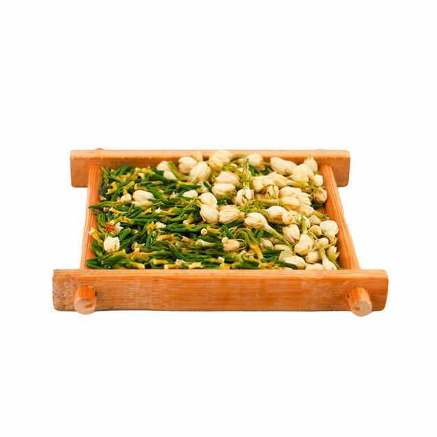 侧视角木头盘子中的茉莉花茶和葛花茶等养生花茶303551png图片免抠素材