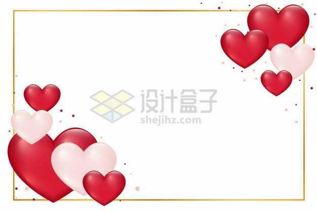 红色和粉色心形装饰的金色边框1958844png图片免抠素材