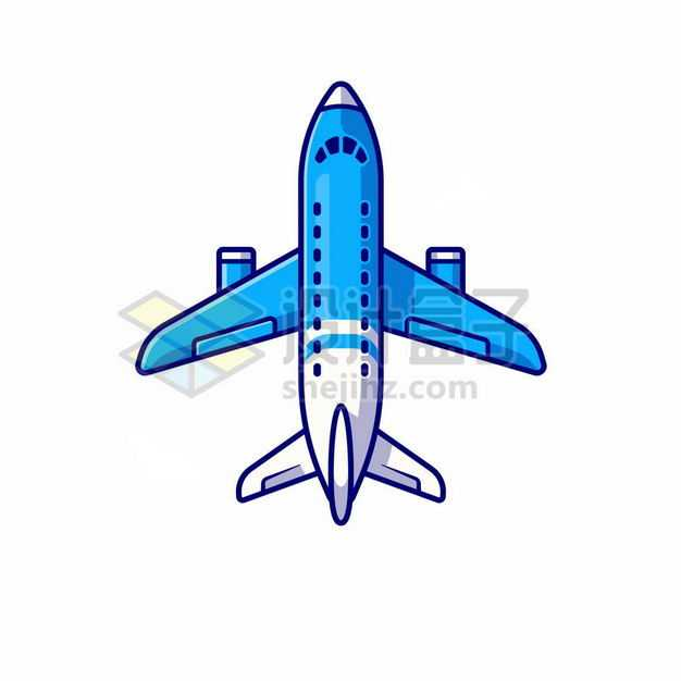 MBE风格蓝色白色卡通客机飞机7543142png图片免抠素材