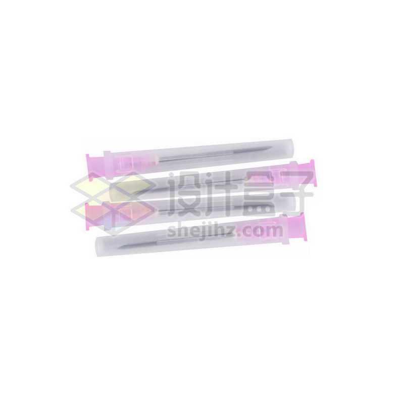 四根粉色的注射器针头一次性分注器针头3636544png图片免抠素材
