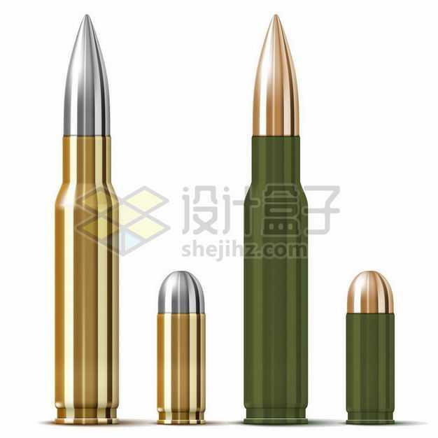 金色绿色狙击步枪子弹和手枪子弹1561824png图片免抠素材