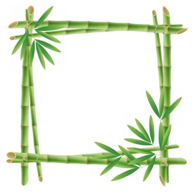 绿色竹竿竹叶竹子组成的边框方框2359609png图片免抠素材