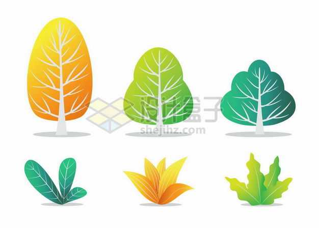六款彩色大树草丛插画7284270png图片免抠素材