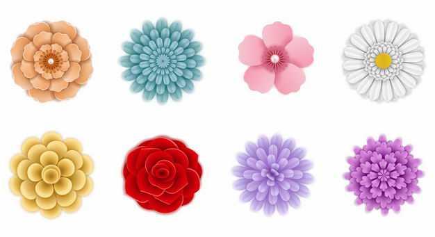 八款对称风格的彩色花朵鲜花花卉图案7170283EPS图片免抠素材
