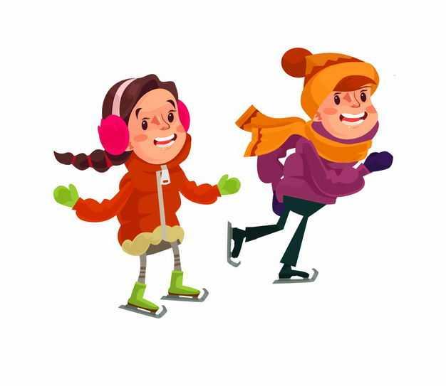 冬天滑冰溜冰的两个卡通男孩女孩2429136EPS图片免抠素材