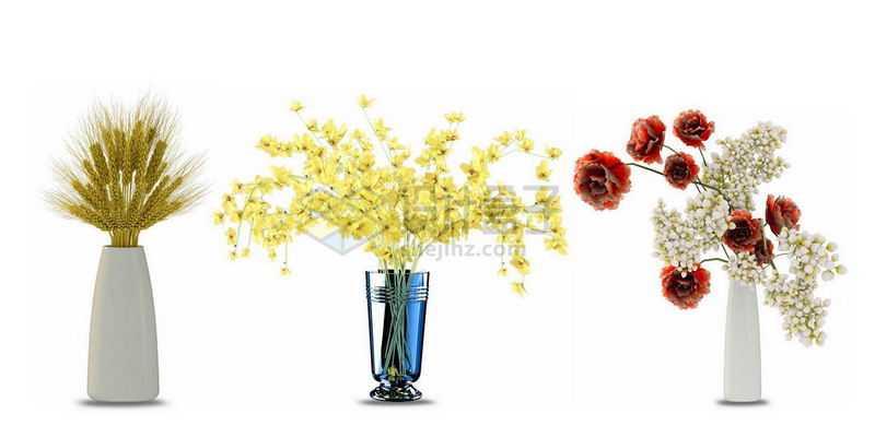 三款花瓶中的鲜花大麦迎春花等装饰8500854图片免抠素材