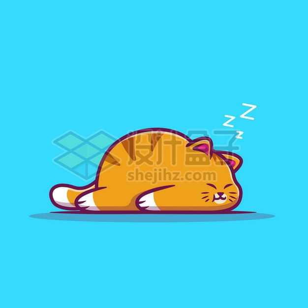 超可爱的卡通橘猫趴在地上睡觉7704608png图片免抠素材