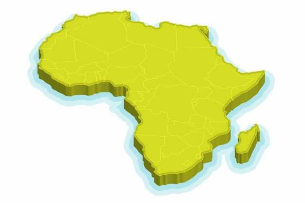 绿色3D立体非洲大陆地图9805468png图片免抠素材