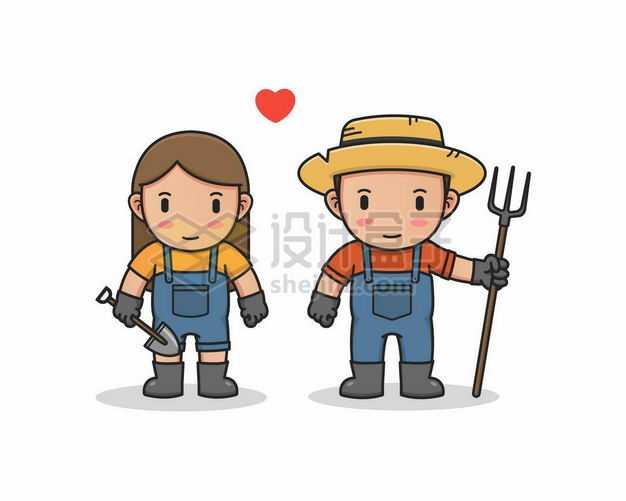 可爱的卡通男人女人农夫农民7298673png图片免抠素材