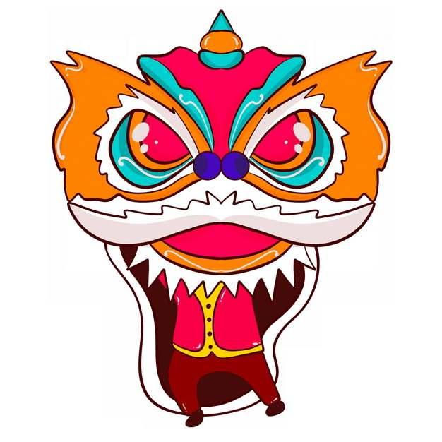 新年春节节日活动上的卡通舞狮子8189578png图片免抠素材